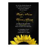 Girasol negro amarillo que casa metálico superior invitacion personalizada