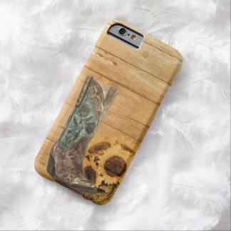 girasol occidental rústico de madera del granero funda de iPhone 6 barely there