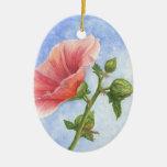Girasol - ornamento adorno navideño ovalado de cerámica