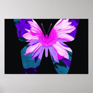 Girasol pintado mariposa póster