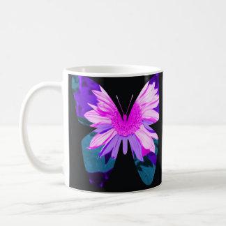 Girasol pintado mariposa taza clásica