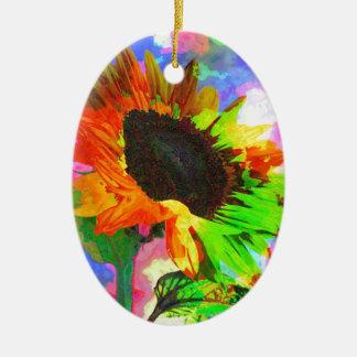 Girasol psicodélico adorno ovalado de cerámica