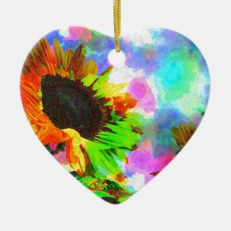 Girasol psicodélico adorno de cerámica en forma de corazón