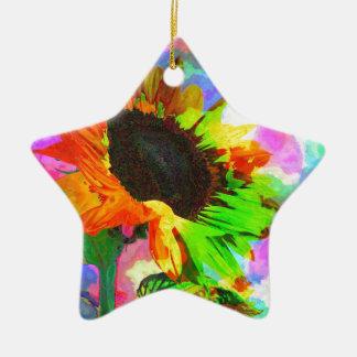 Girasol psicodélico adorno de cerámica en forma de estrella
