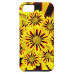 Girasol rayado amarillo y rojo de la margarita del iPhone 5 Case-Mate funda