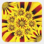 Girasol rayado amarillo y rojo de la margarita del colcomanias cuadradass