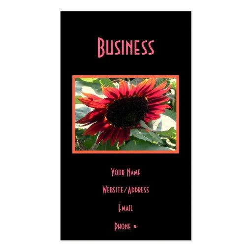 Girasol rojo grande tarjeta de visita
