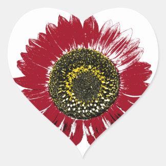 Girasol rojo oscuro pegatina en forma de corazón