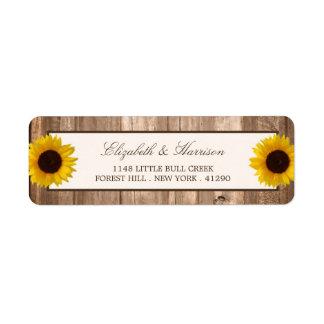 Girasol rústico del país y boda de madera de Brown Etiqueta De Remitente