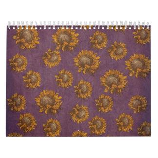 Girasol rústico púrpura del ciruelo de los calendario de pared