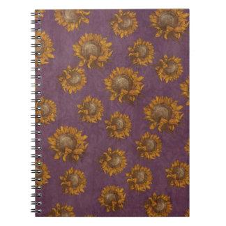 Girasol rústico púrpura del ciruelo de los girasol libretas