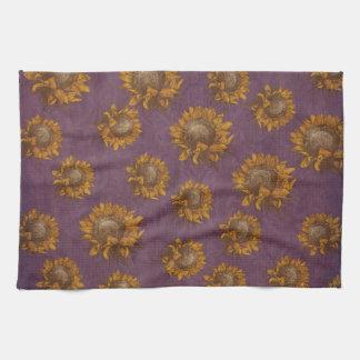 Girasol rústico púrpura del ciruelo de los girasol toallas de cocina