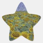 Girasol Scape texturizado Calcomanía Forma De Estrella Personalizada