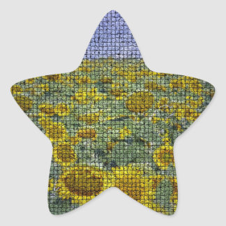 Girasol Scape texturizado Pegatina En Forma De Estrella