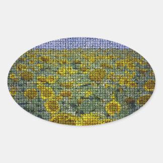 Girasol Scape texturizado Pegatina Ovalada