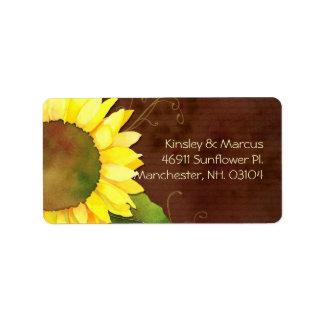 Girasol soleado Brown que casa la etiqueta del rem Etiquetas De Dirección
