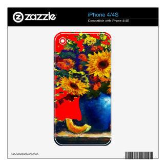 Girasol, todavía del florero regalos azules del iPhone 4S skins