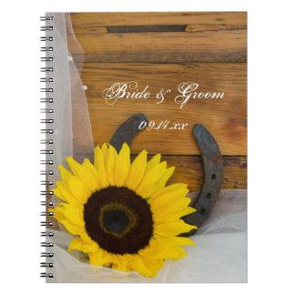 Girasol y boda occidental de herradura libro de apuntes con espiral