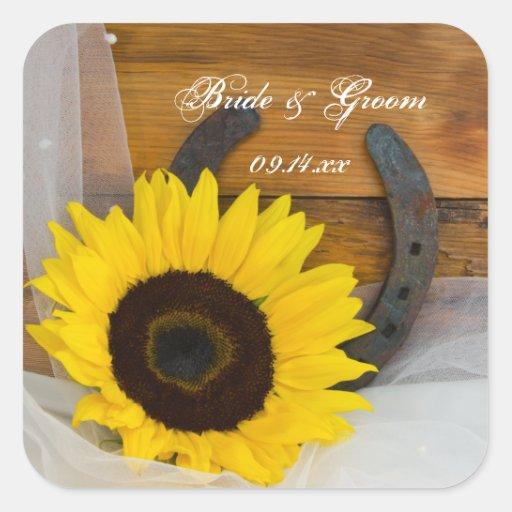 Girasol y boda occidental de herradura pegatina cuadrada
