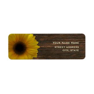 Girasol y etiqueta de dirección amarillos de