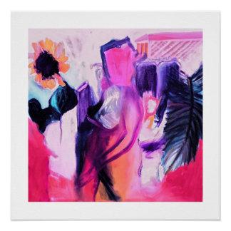 Girasol y la señora - impresión brillante 20 x 20 perfect poster