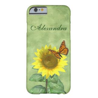 Girasol y mariposa funda para iPhone 6 barely there