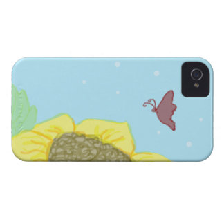 Girasol y mariposa iPhone 4 fundas