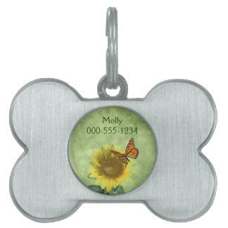 Girasol y mariposa placa de nombre de mascota