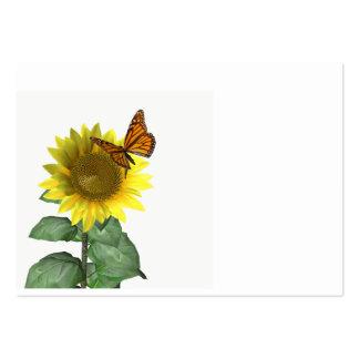Girasol y mariposa tarjetas de visita grandes