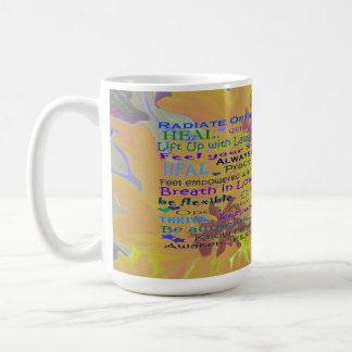girasol y taza curativa de las palabras