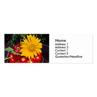 Girasol y verduras - tomates, pimientas rojas tarjeta personal