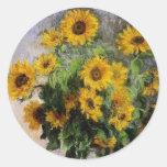 Girasoles, 1881 por Monet. Pegatinas Redondas
