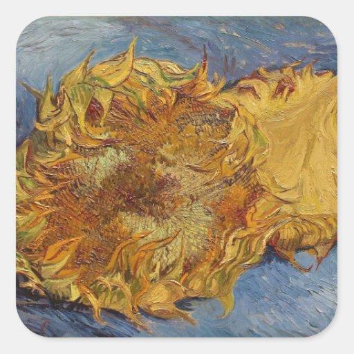 Girasoles, 1887 (aceite en lona) pegatina cuadrada