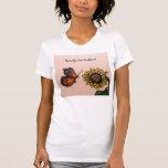 Girasoles 2 del amor de las mariposas camiseta