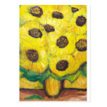Girasoles abstractos en el florero postal