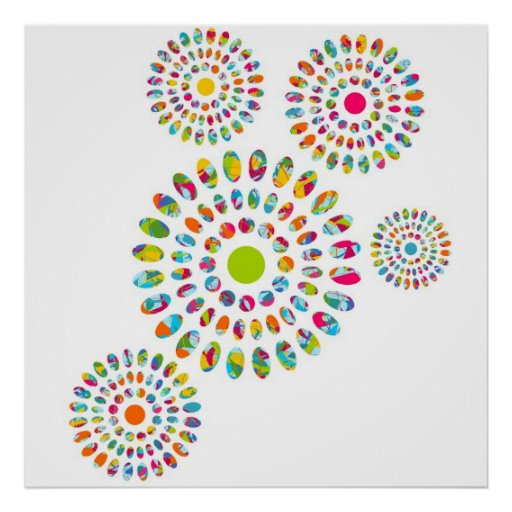 Girasoles abstractos modernos coloridos poster
