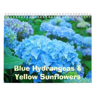 Girasoles amarillos de los Hydrangeas azules flora