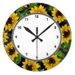 Girasoles amarillos del vintage en el reloj de par
