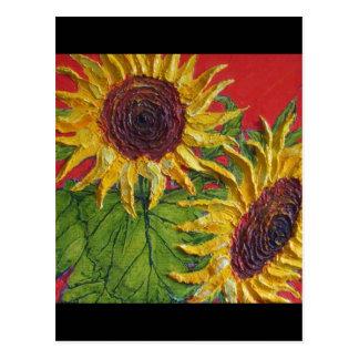 Girasoles amarillos en rojo postales