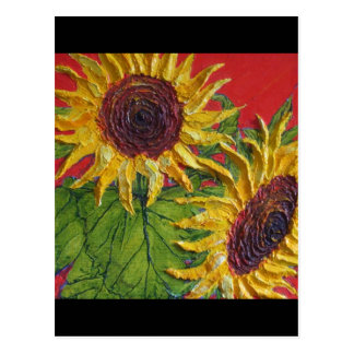 Girasoles amarillos en rojo tarjeta postal