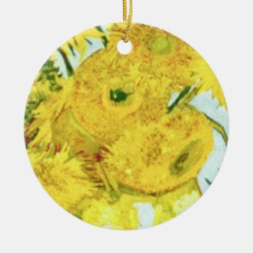 girasoles amarillos, flores de Vincent van Gogh Ornamentos Para Reyes Magos