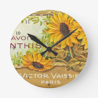 Girasoles amarillos franceses del vintage relojes