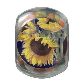 Girasoles amarillos frascos de cristal