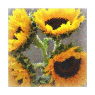 Girasoles amarillos pintados impresión en lona