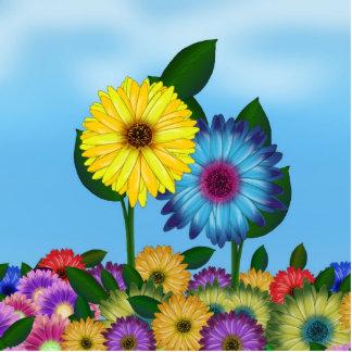 Girasoles amarillos y azules del dibujo animado fotoescultura vertical