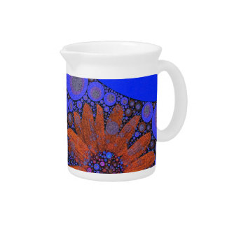 Girasoles anaranjados azules brillantes magníficos jarrones