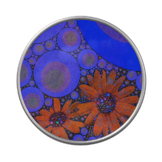 Girasoles anaranjados azules brillantes magníficos latas de dulces