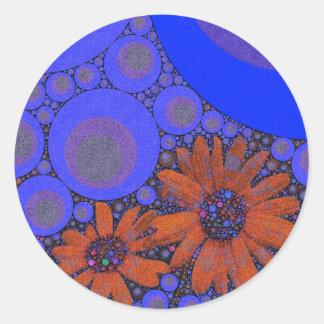 Girasoles anaranjados azules brillantes magníficos pegatina redonda