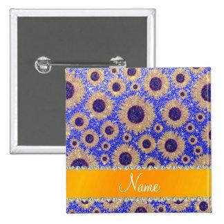Girasoles azules de neón conocidos personalizados pins