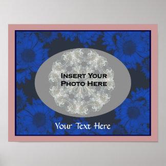 Girasoles azules su poster de la plantilla de la f